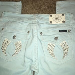 Miss Me Size 30 Baby Blue Skinny Jeans w/ Bling